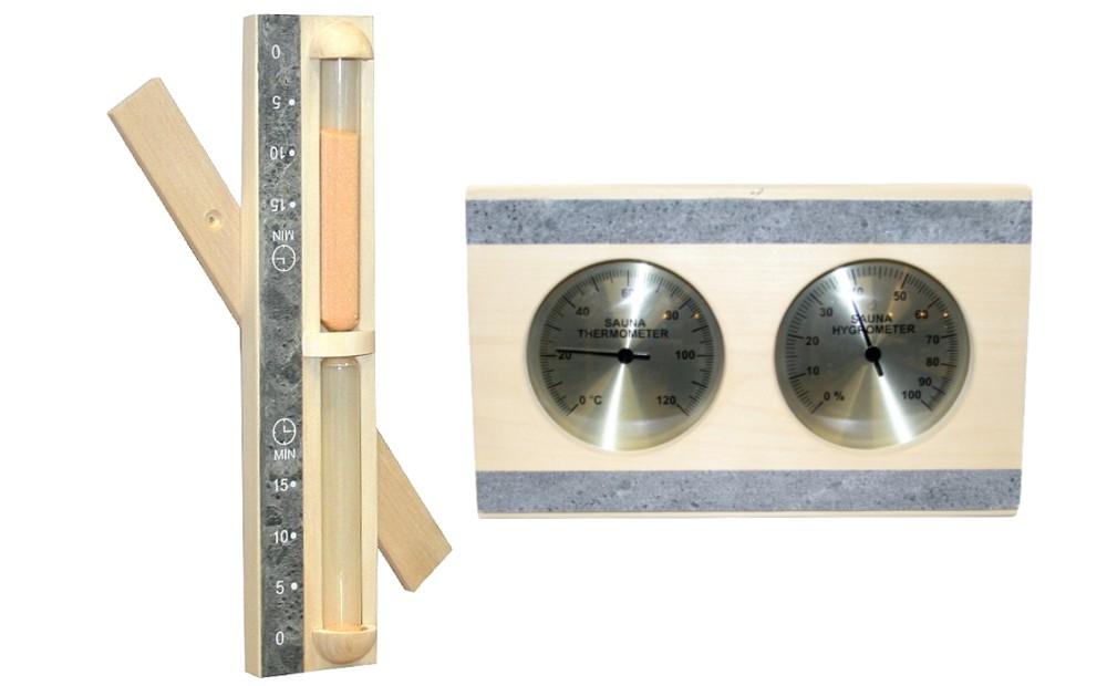 Sauna Messgeräte Set | 2 teilig Espe & Speckstein