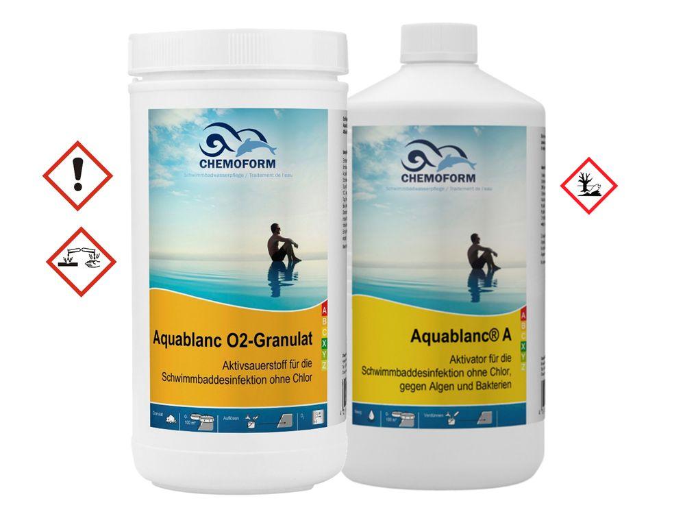 CHEMOFORM Aquablanc O2-Granulat 1 kg + Aquablanc A 1 L 2er Set