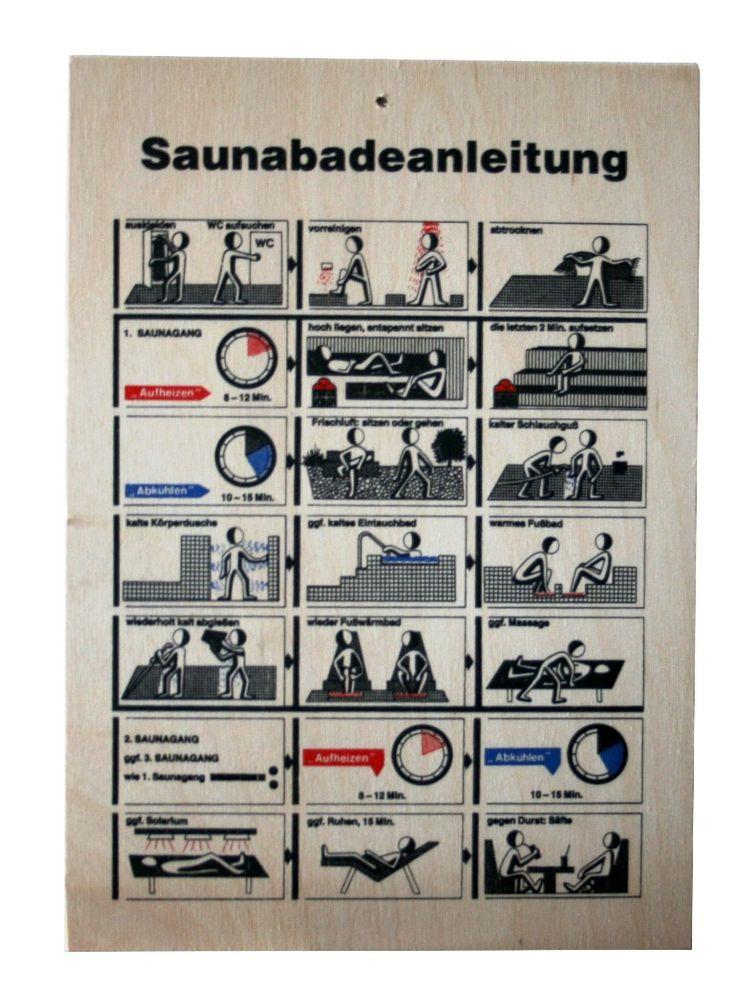 Sauna Regeln   Badeanleitung Holz-Tafel A4