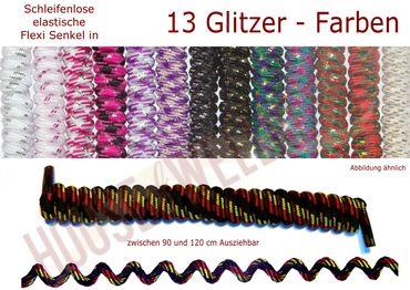 FLEXI schleifenlose Schnürsenkel / Glitzer