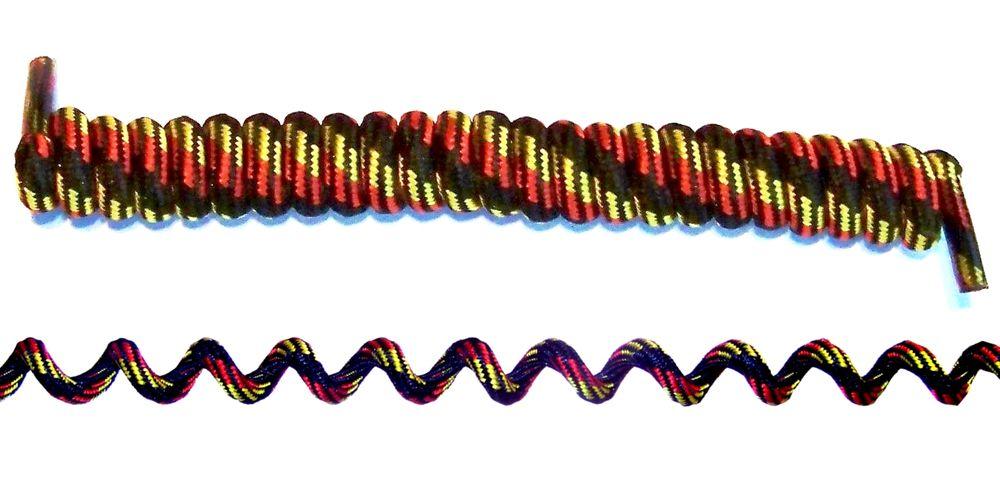 Spiral Schnürsenkel elastisch Schwarz / Rot / Gelb ca. 90 cm