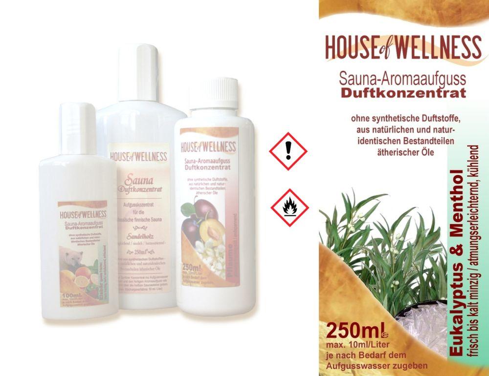 HoW Saunaduft Aufgusskonzentrat 250 ml | Eukalyptus & Menthol