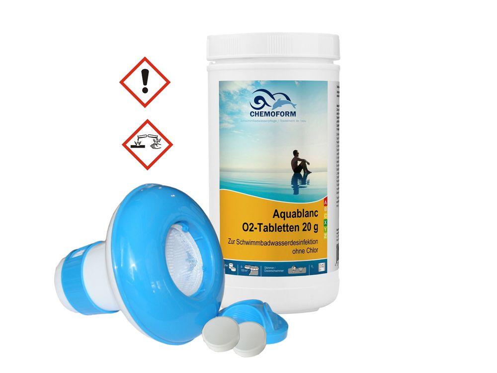 CHEMOFORM Aquablanc 20 g O2-Tabletten 1 kg + Dosierschwimmer 2er Set