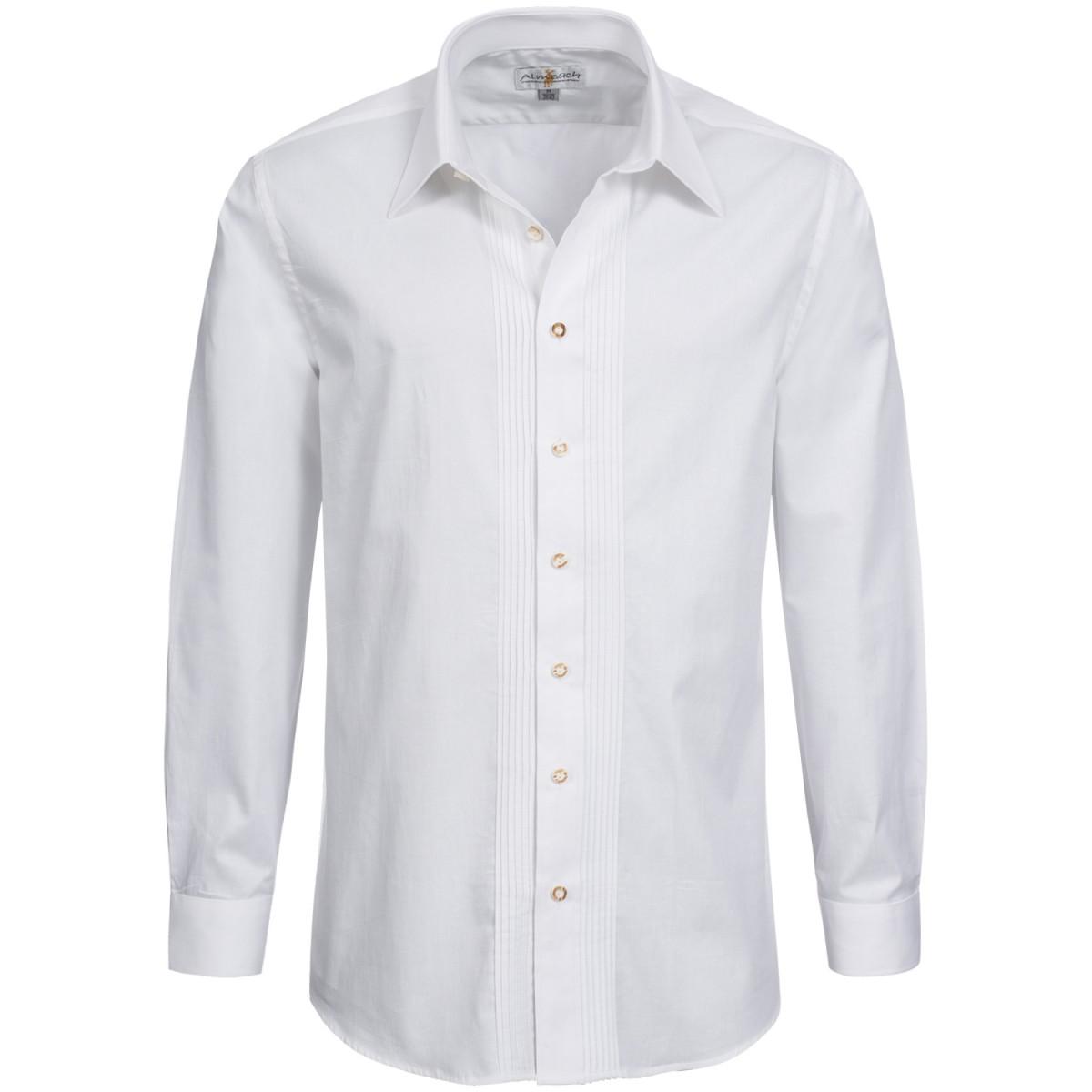 Trachtenhemd Slimline mit Biesen in Weiß von Almsach günstig online kaufen