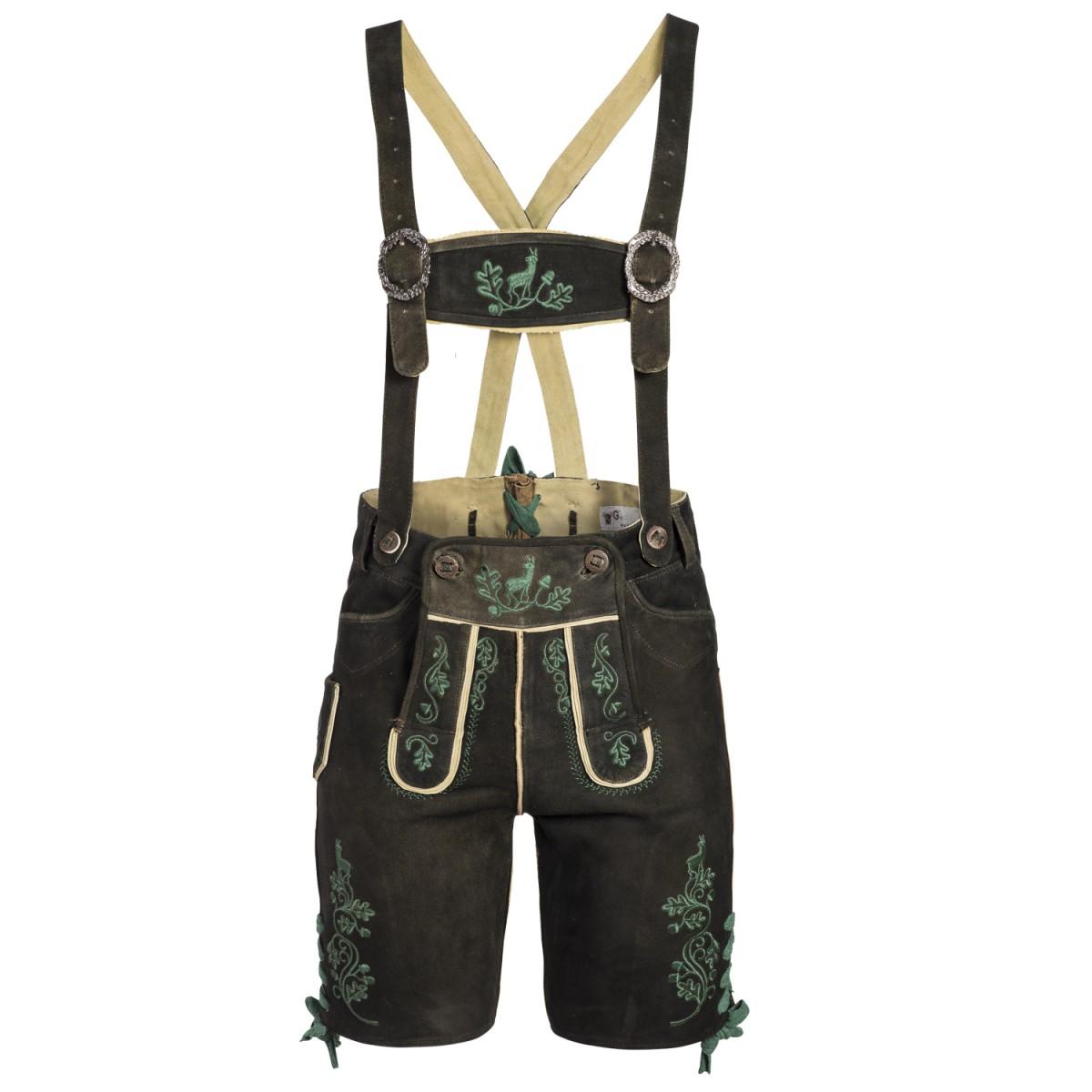 kurze Lederhose in Altschwarz von Gweih und Silk günstig online kaufen