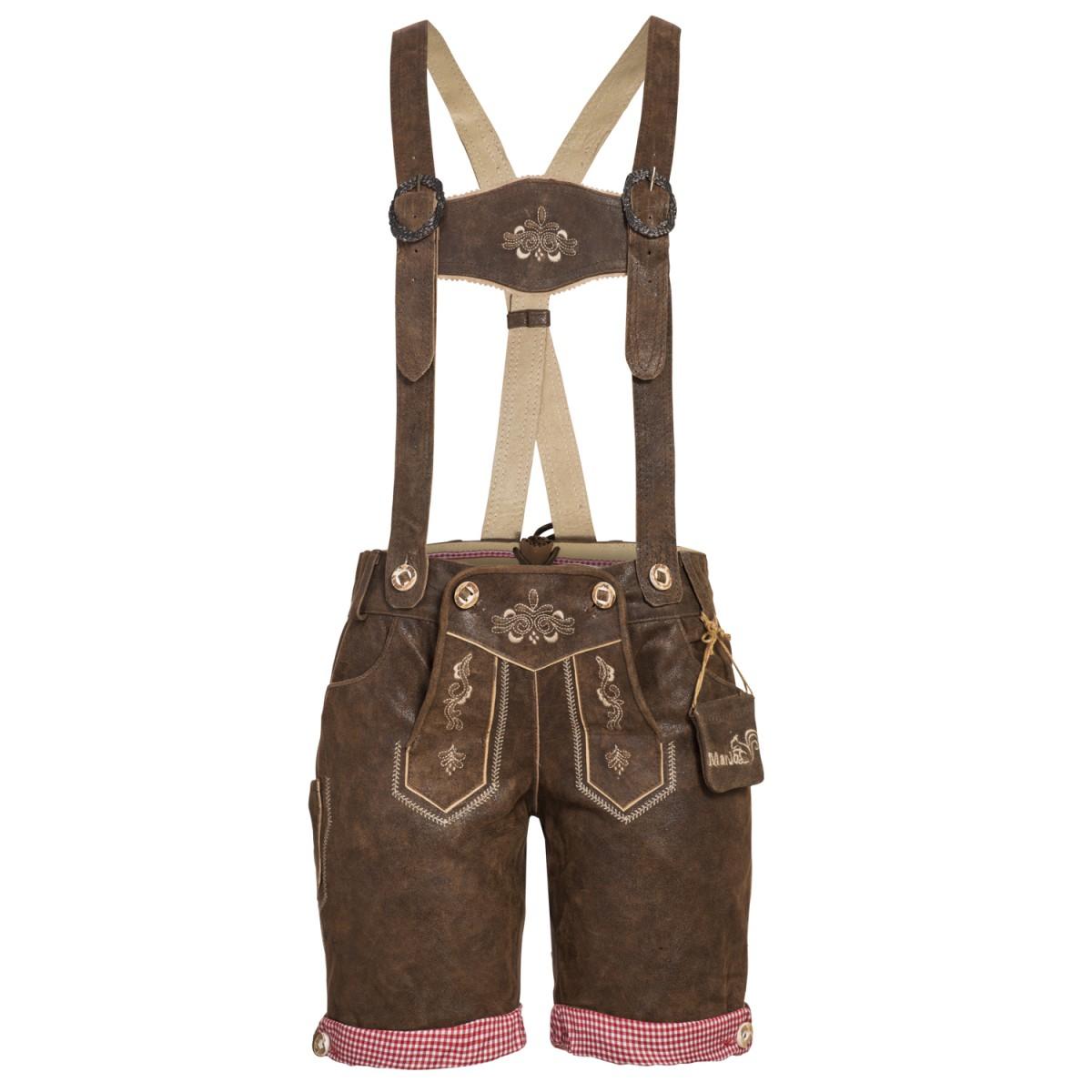 kurze Lederhose in used Dunkelbraun von Marjo Trachten günstig online kaufen