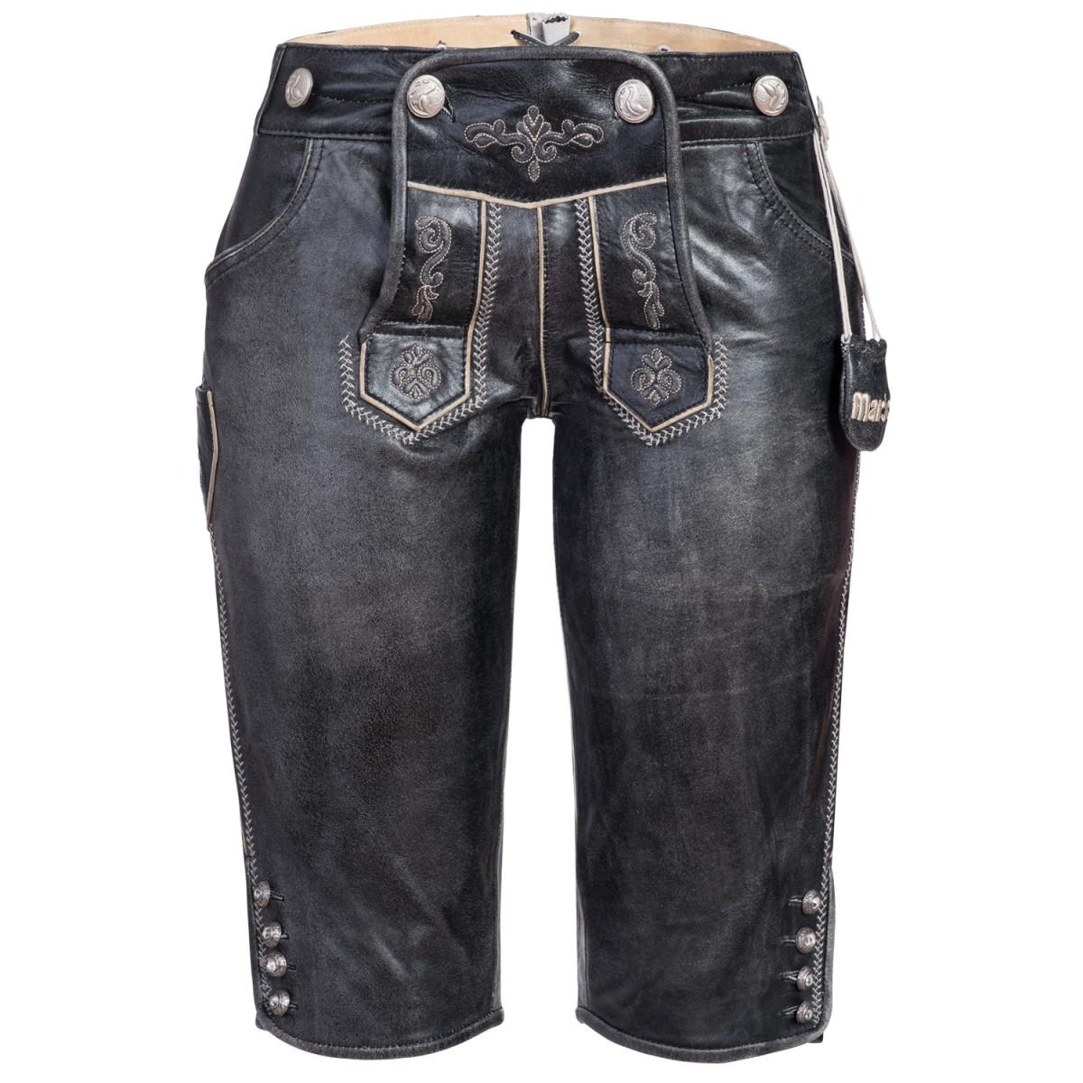 kurze Lederhose in Schwarz von Marjo Trachten günstig online kaufen