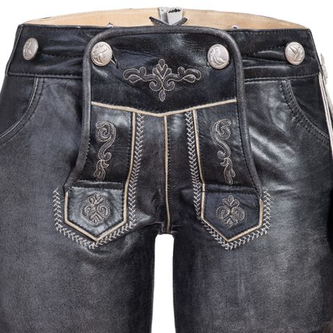 kurze Lederhose in Schwarz von Marjo Trachten