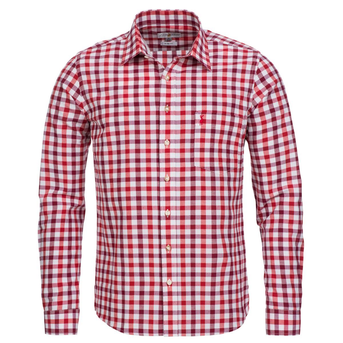 Trachtenhemd Slim Fit zweifarbig in Weinrot und Rot von Almsach