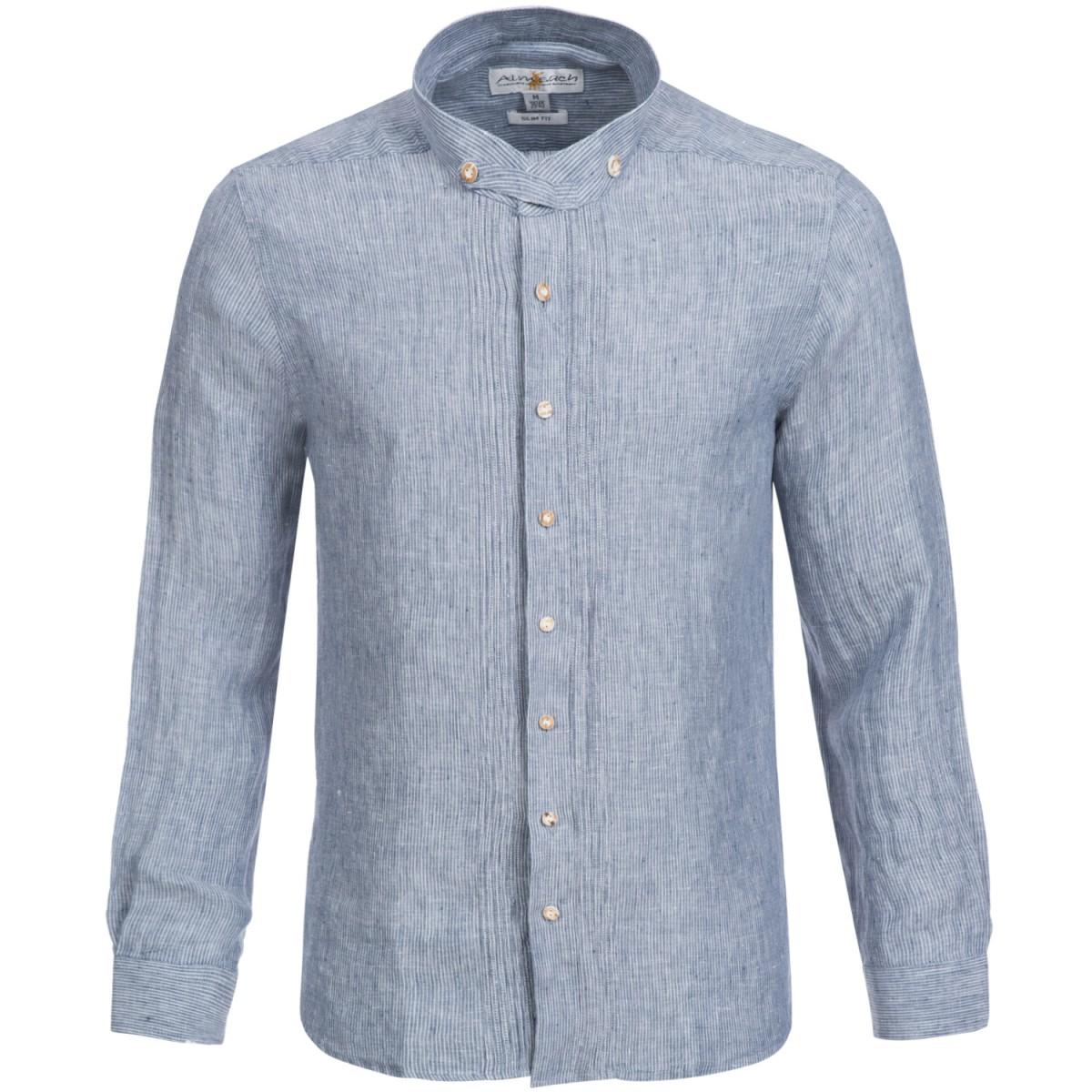 Trachtenhemd Slim Fit in Dunkelblau von Almsach Leinenhemd günstig online kaufen
