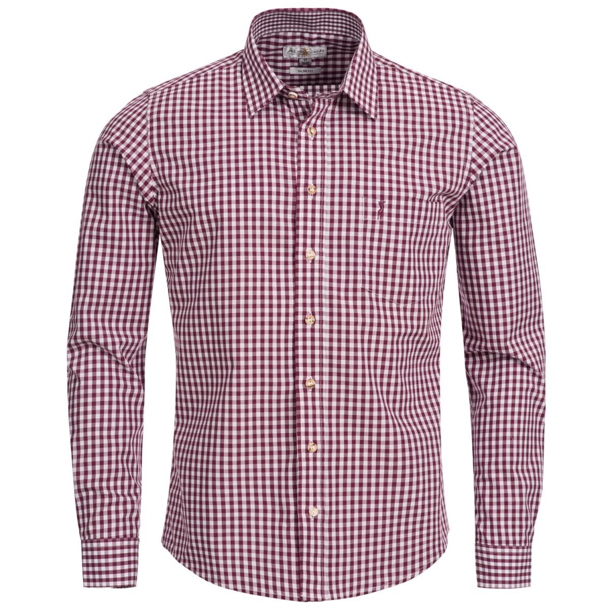 Trachtenhemd Slim Fit in Lila von Almsach günstig online kaufen