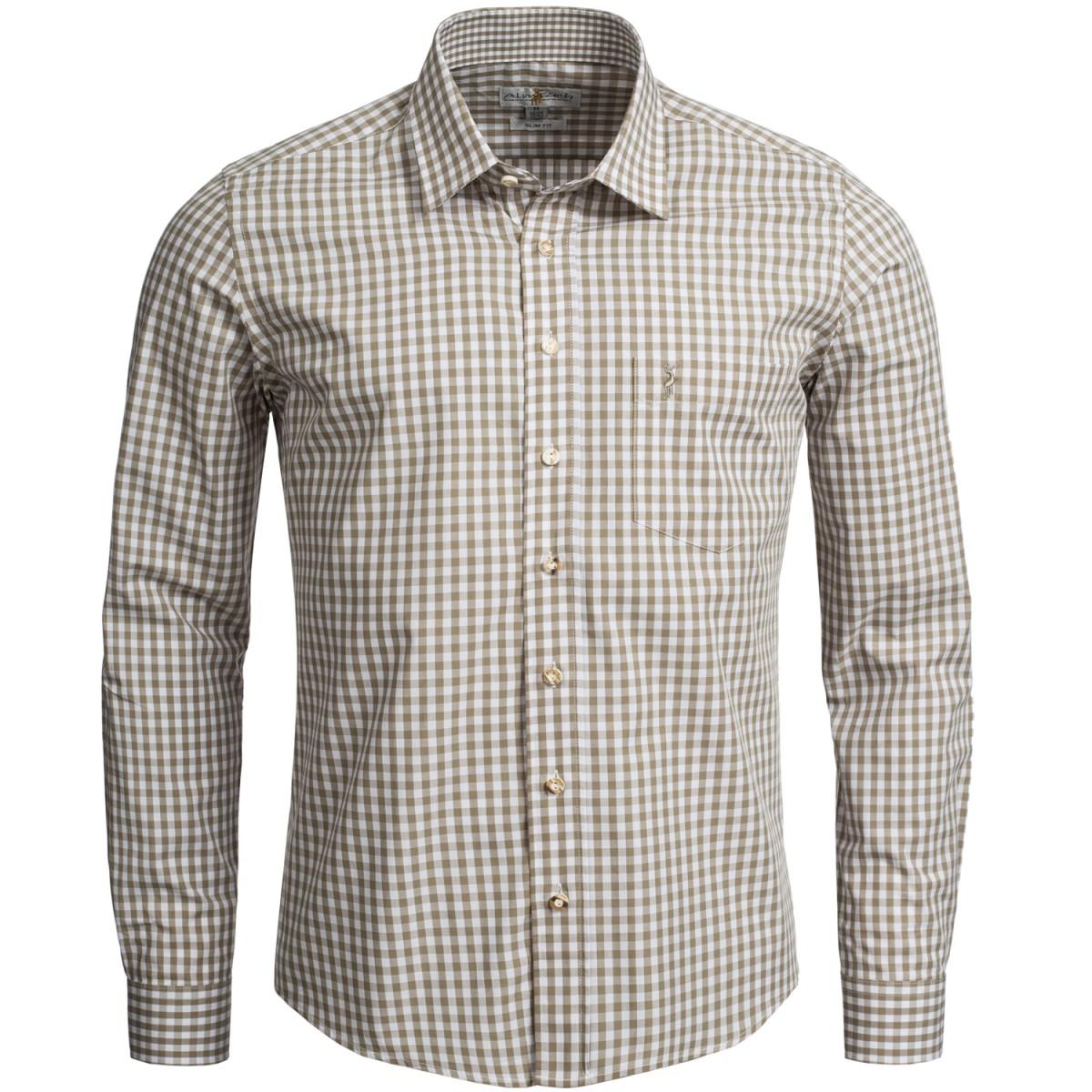 Trachtenhemd Slim Fit in Beige von Almsach günstig online kaufen
