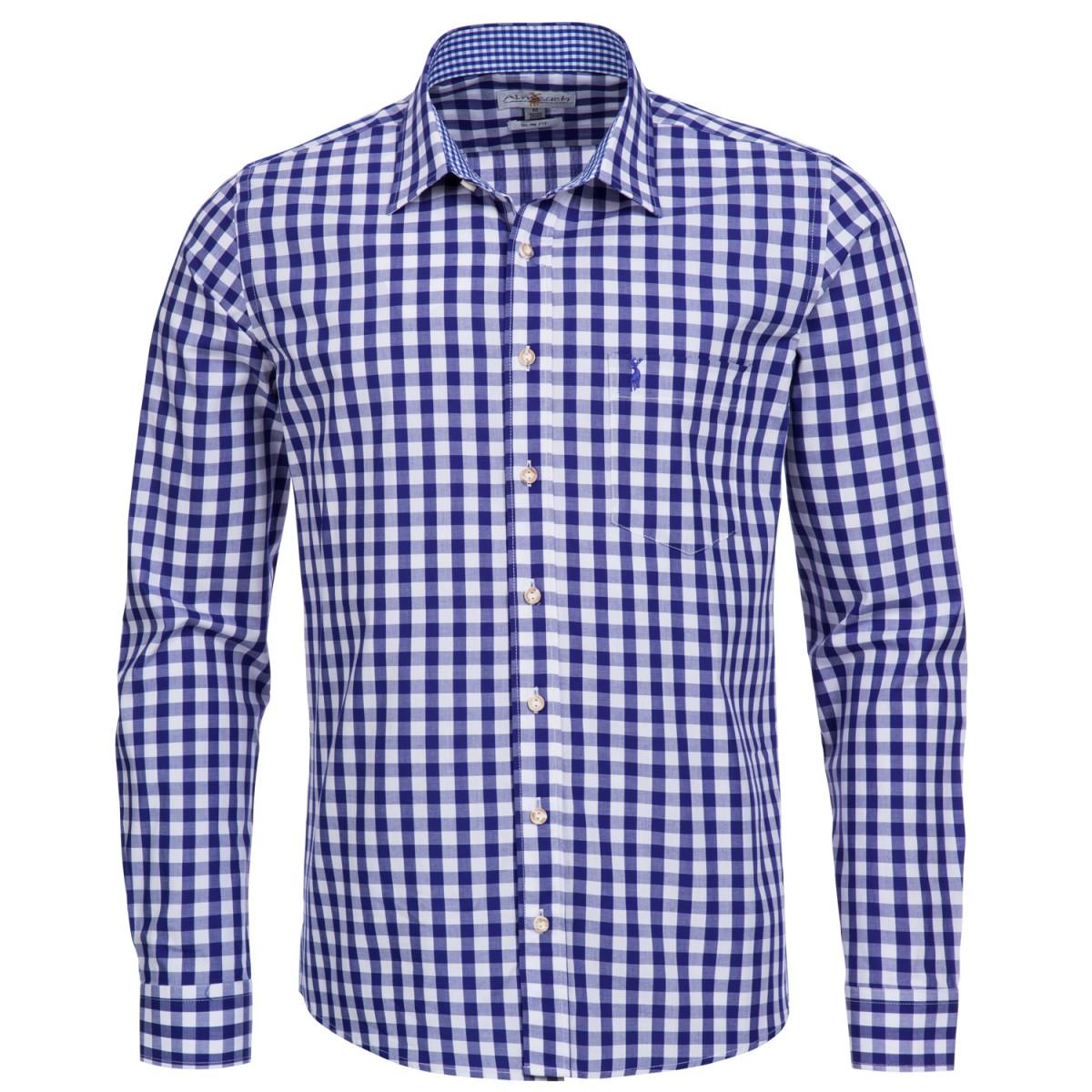 Trachtenhemd Slim Fit in Dunkelblau von Almsach günstig online kaufen