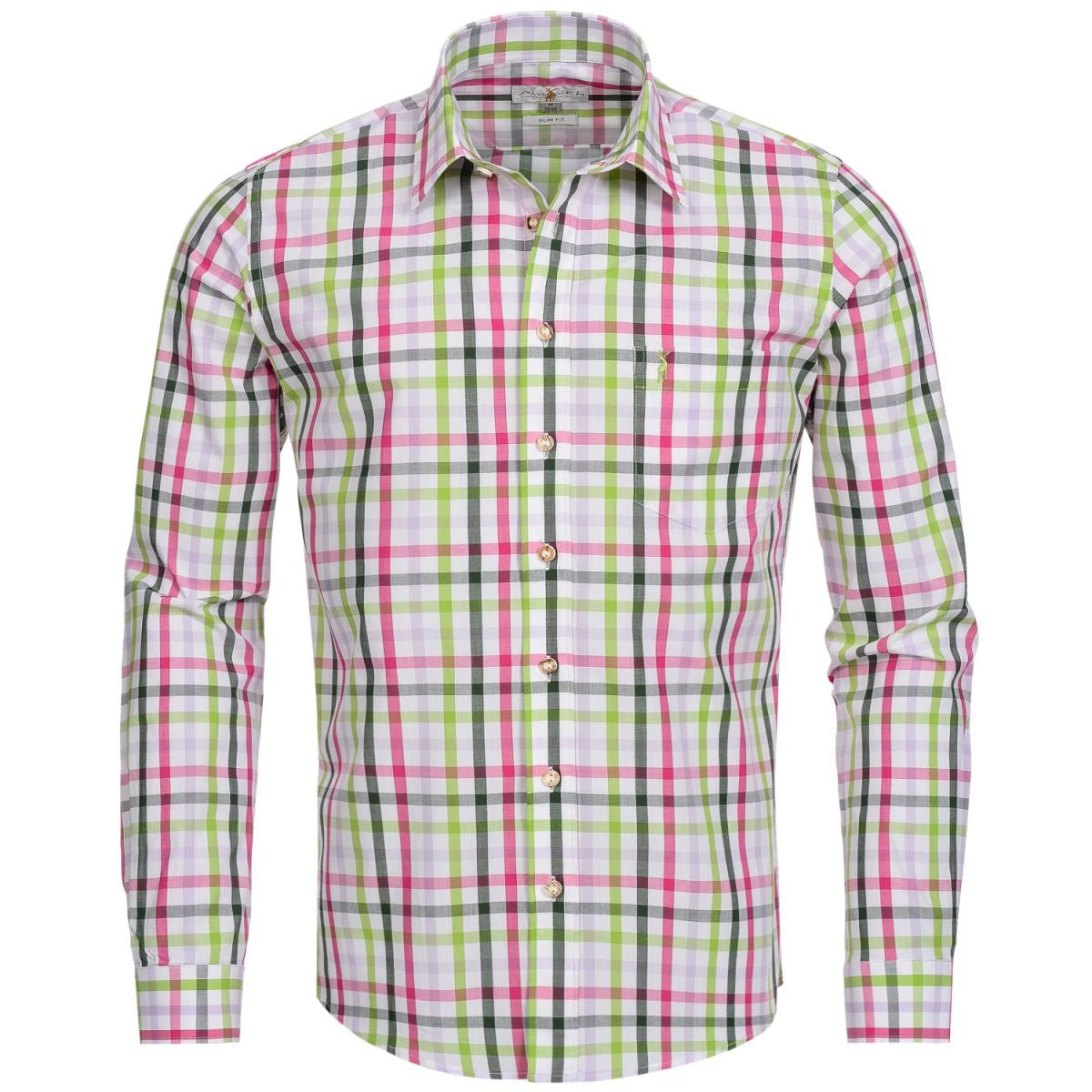 Trachtenhemd Slim Fit mehrfarbig in Pink, Hellgrün und Grün von Almsach günstig online kaufen