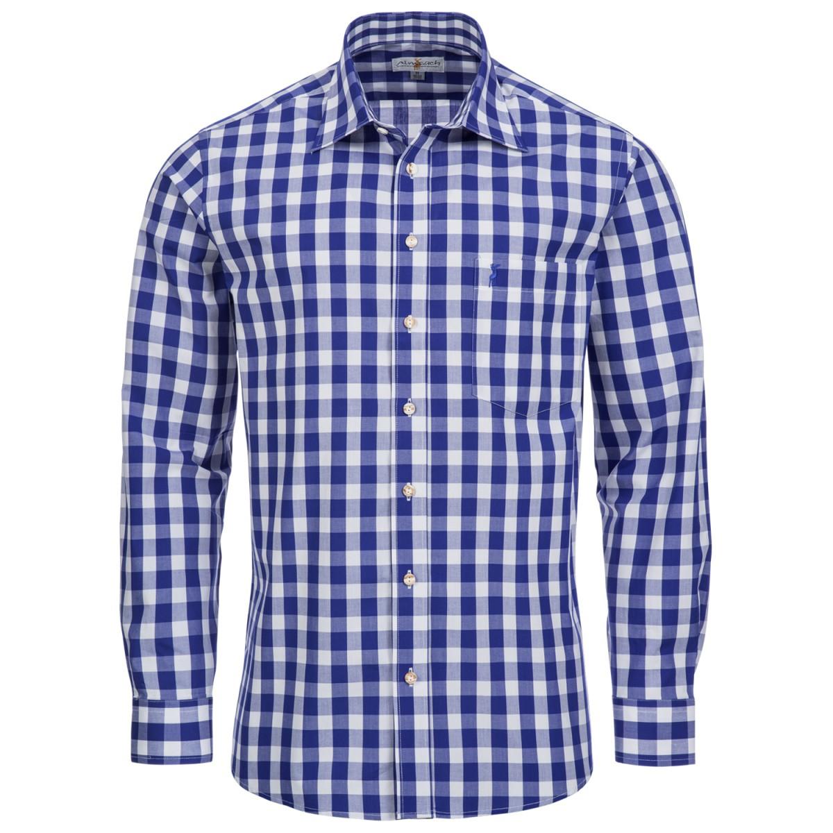Großkariertes Trachtenhemd Regular Fit in Blau von Almsach günstig online kaufen