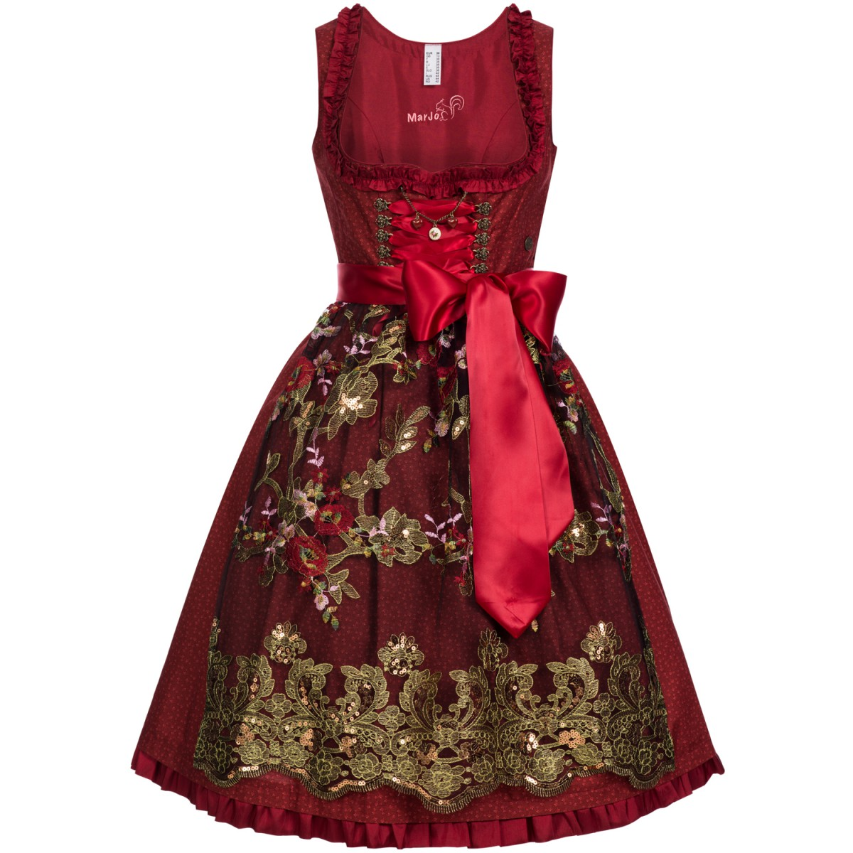 midi dirndl birte in rot von marjo trachten damen dirndl. Black Bedroom Furniture Sets. Home Design Ideas