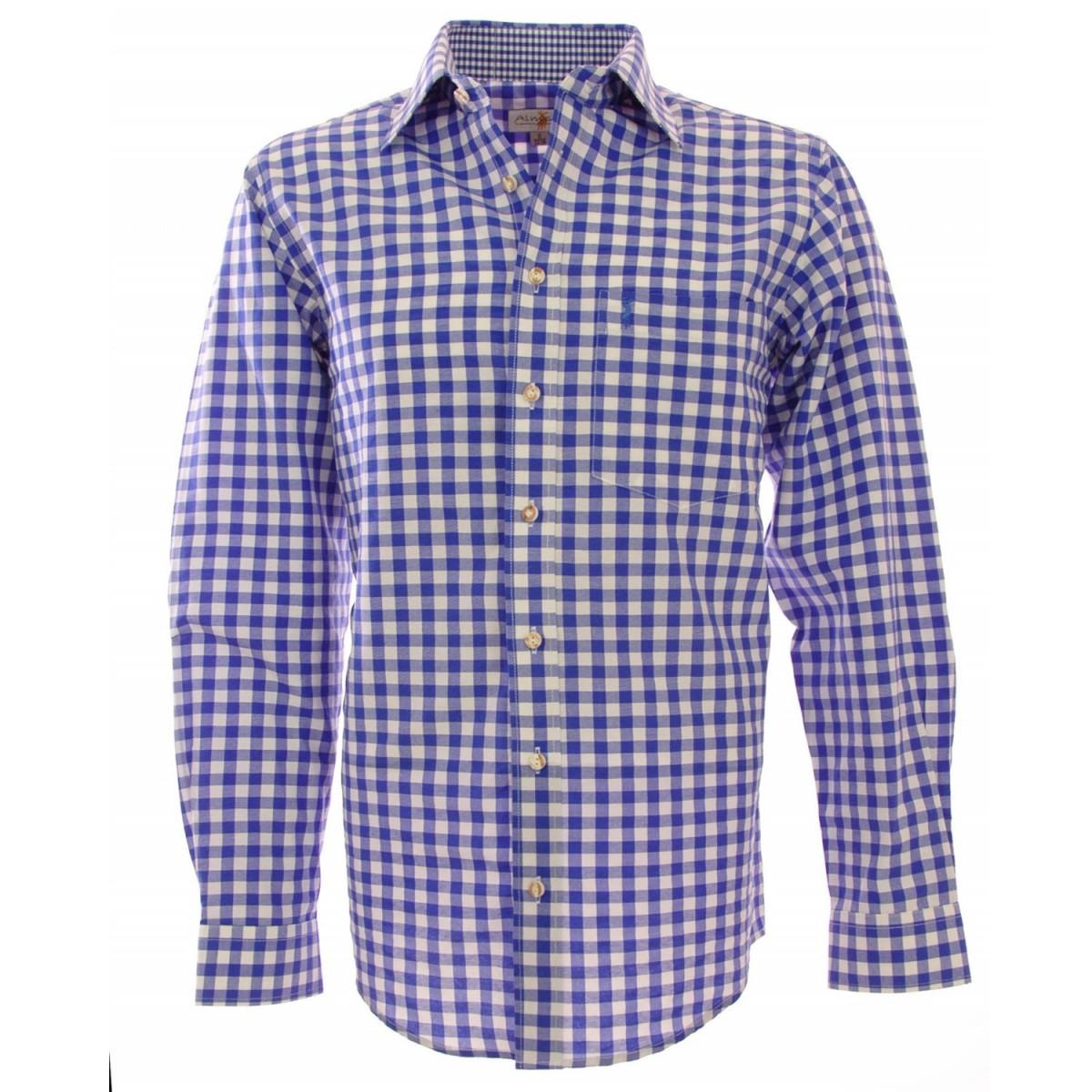 Trachtenhemd Regular Fit in Blau von Almsach günstig online kaufen