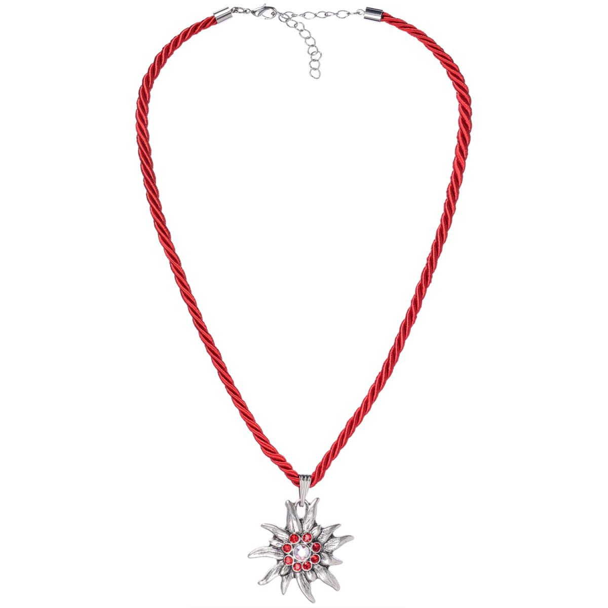 Halskette in Rot mit Edelweißanhänger von Schlick Accessoires