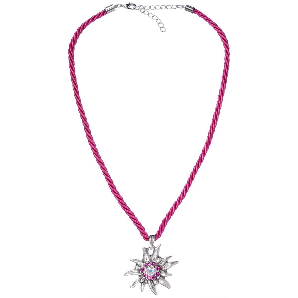 Halskette in Pink mit Edelweißanhänger von Schlick Accessoires günstig online kaufen