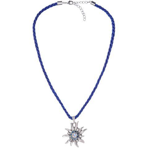 Halskette mit Edelweißanhänger in Blau von Schlick Accessoires