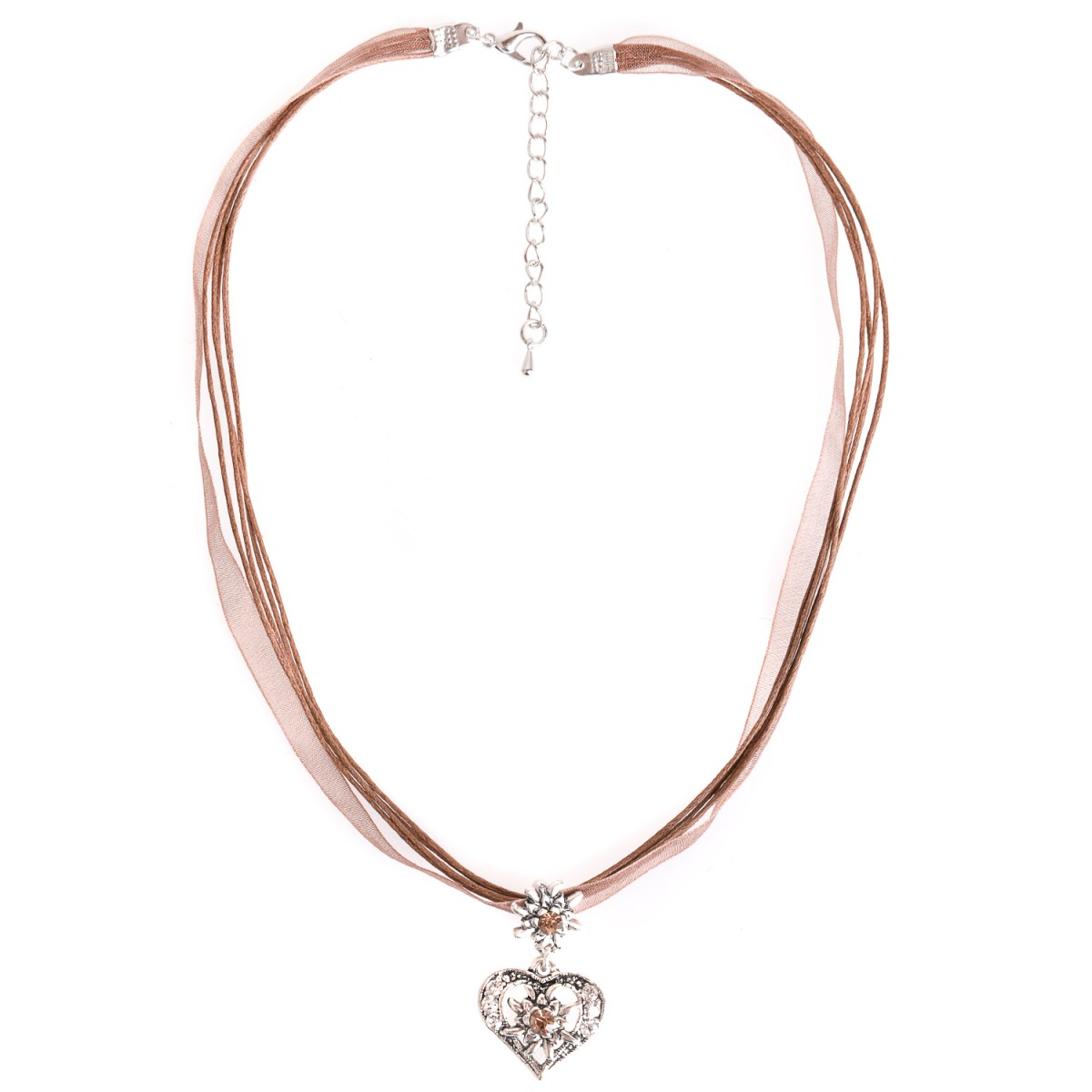 Halskette mit 4 Bändern und Herzanhänger in Braun von Schlick Accessoires