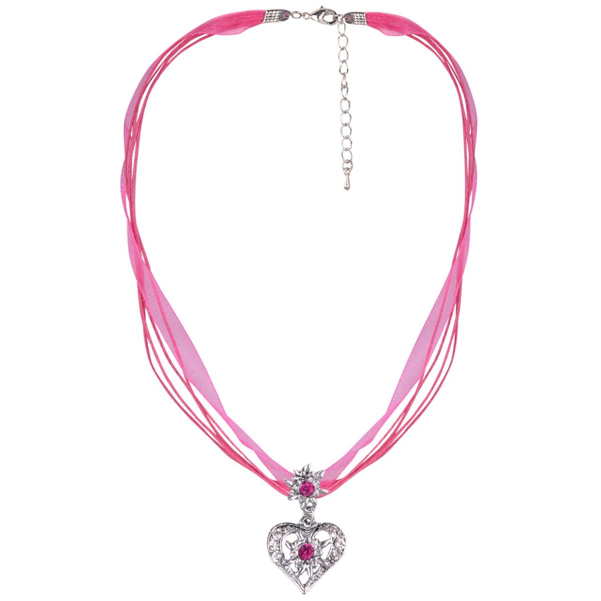 Halskette in Pink mit 4 Bändern und Herzanhänger von Schlick Accessoires