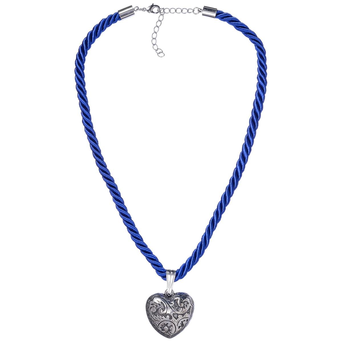 Kordelkette mit Herzanhänger in Blau von Schlick Accessoires