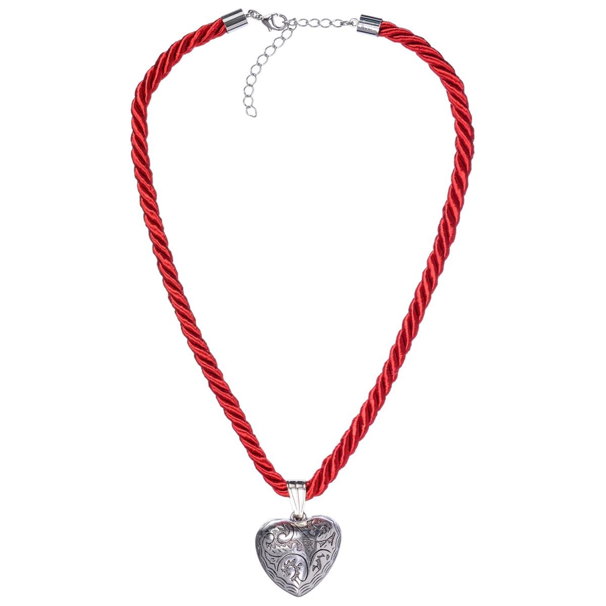 Kordelkette in Rot mit Herzanhänger von Schlick Accessoires günstig online kaufen