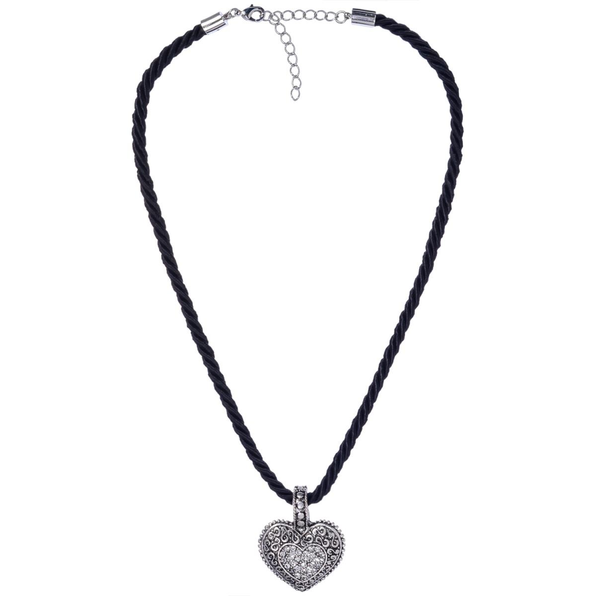 Kordelkette in Schwarz mit Herzanhänger von Schlick Accessoires