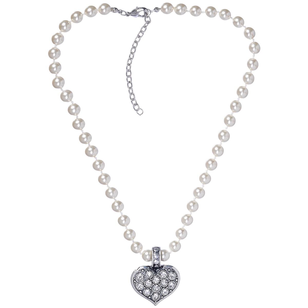 Perlenkette mit Herzanhänger in Weiß von Schlick Accessoires günstig online kaufen