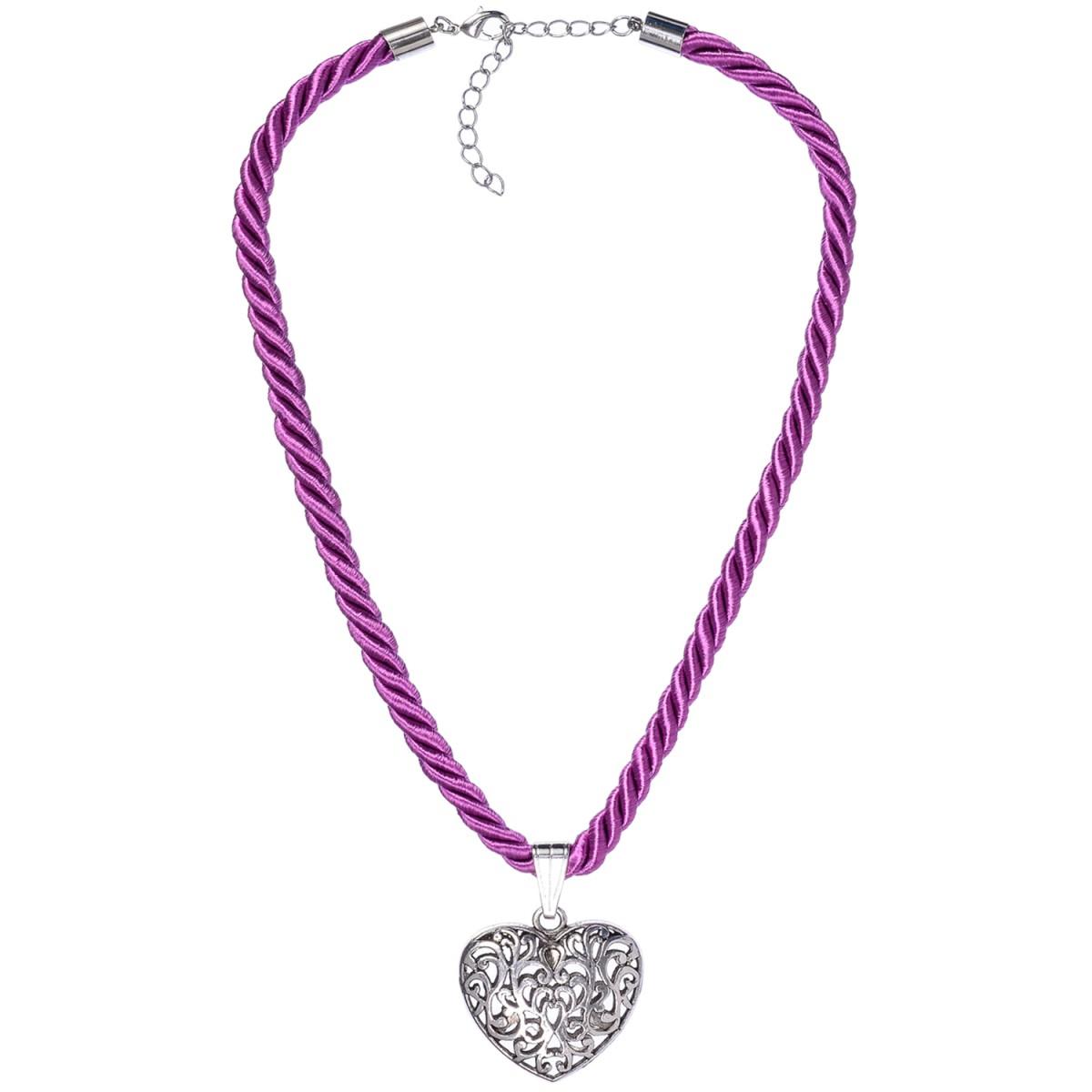 Kordelkette mit Herzanhänger in Lila von Schlick Accessoires günstig online kaufen