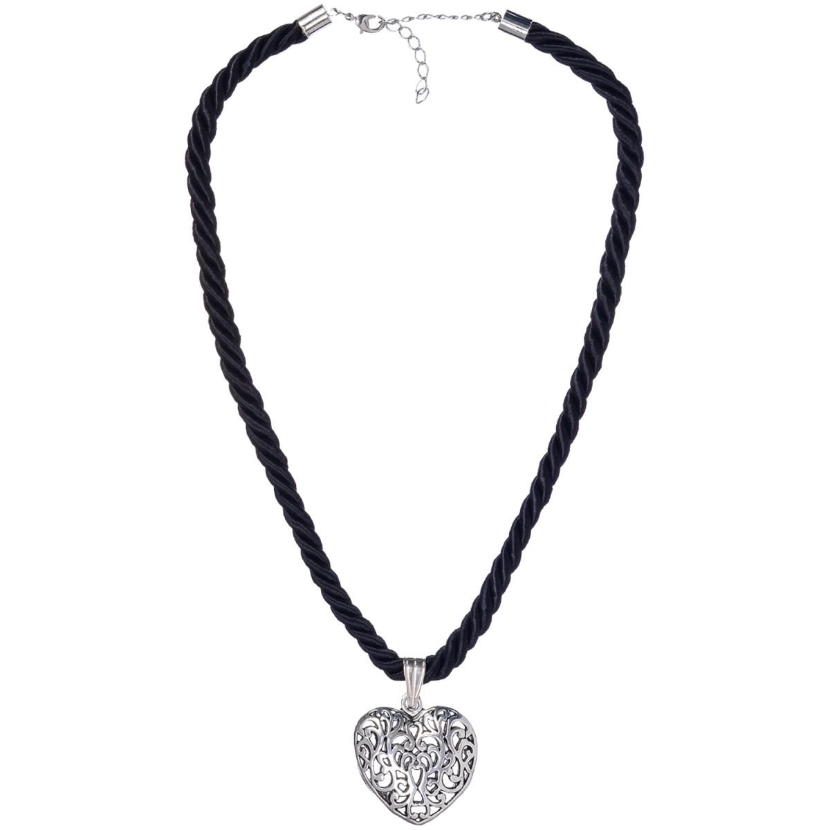 Kordelkette in Schwarz mit Herzanhänger von Schlick Accessoires günstig online kaufen