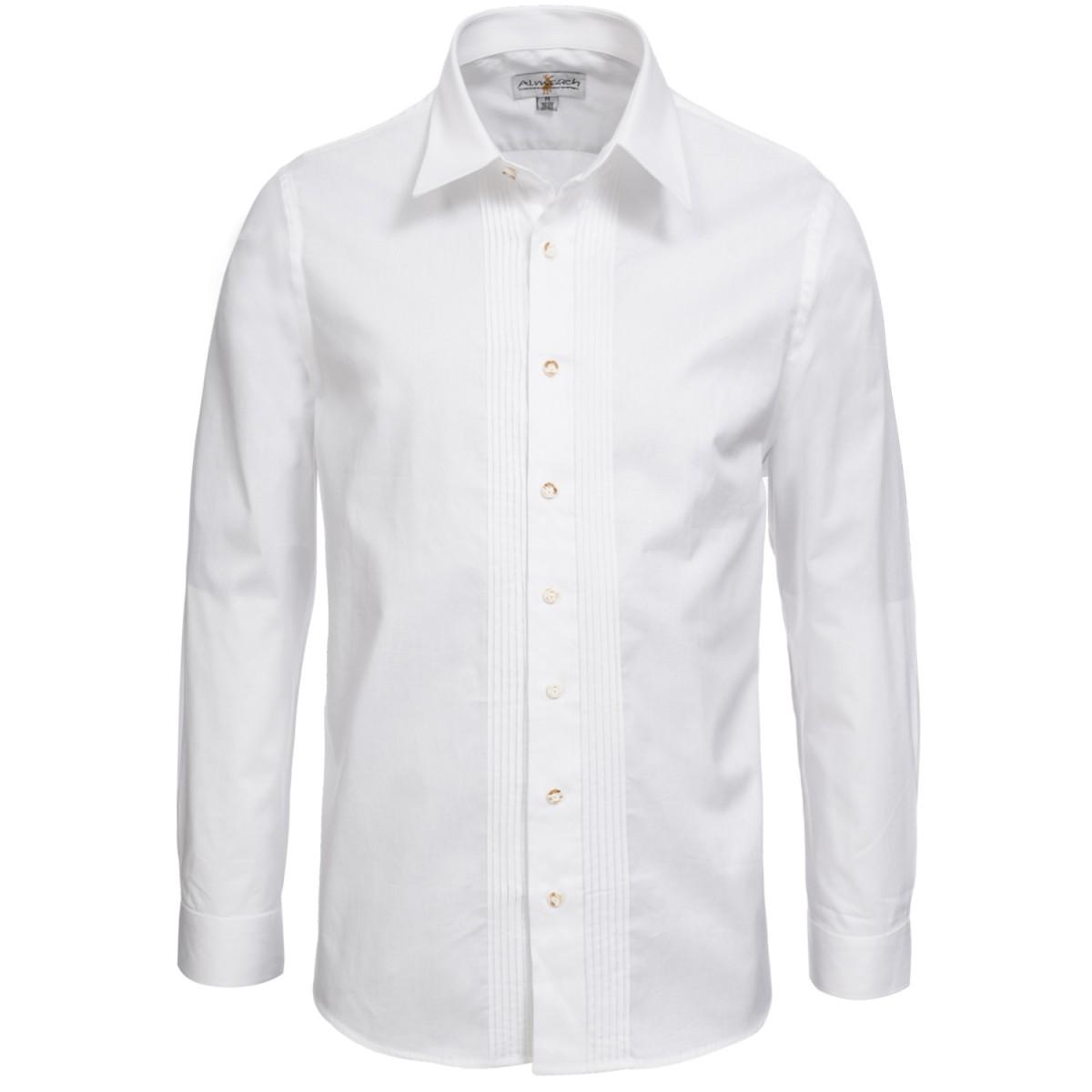 Trachtenhemd Regular Fit mit Biesen in Weiß von Almsach günstig online kaufen