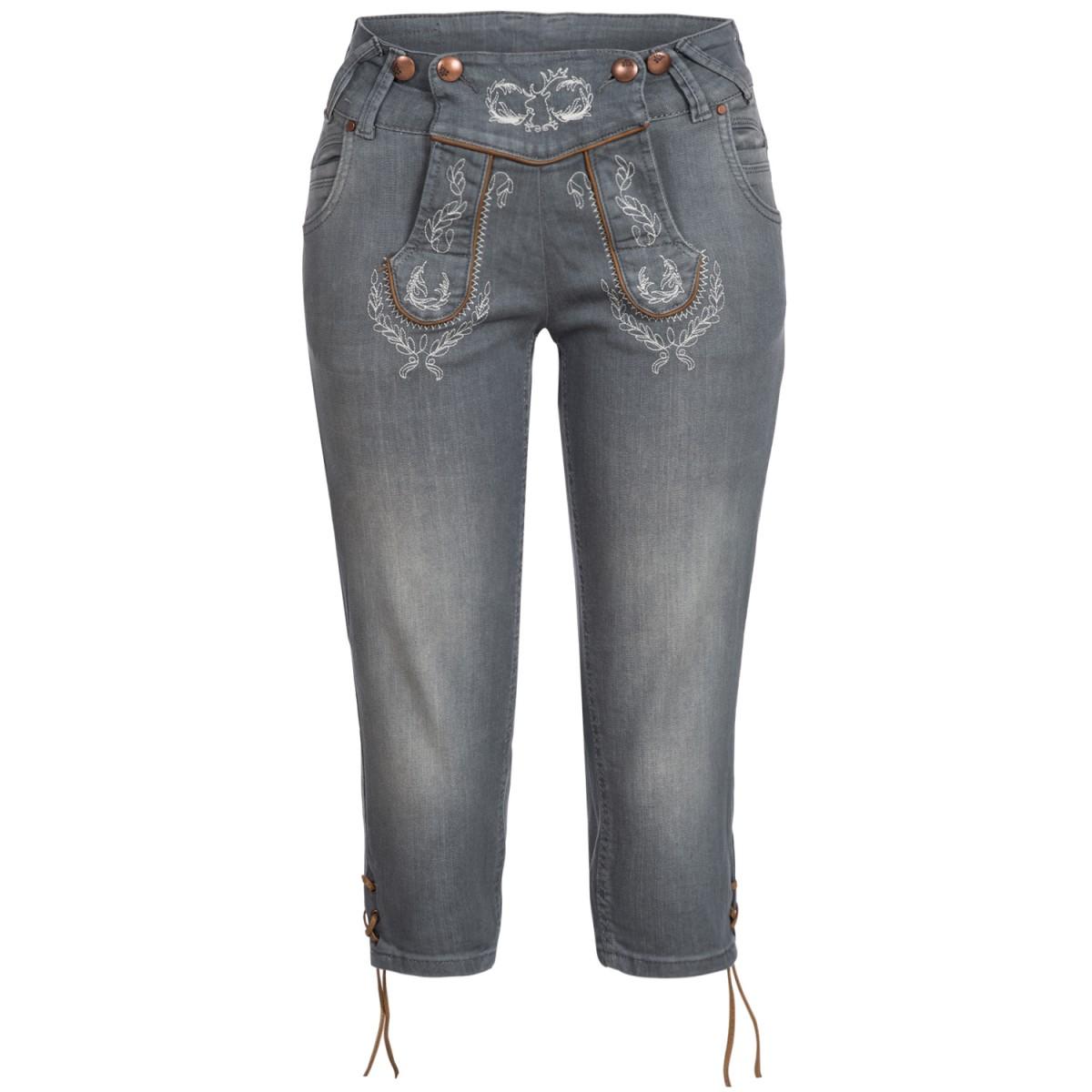 Jeans-Kniebundlederhose Anni in Grau von Hangowear günstig online kaufen