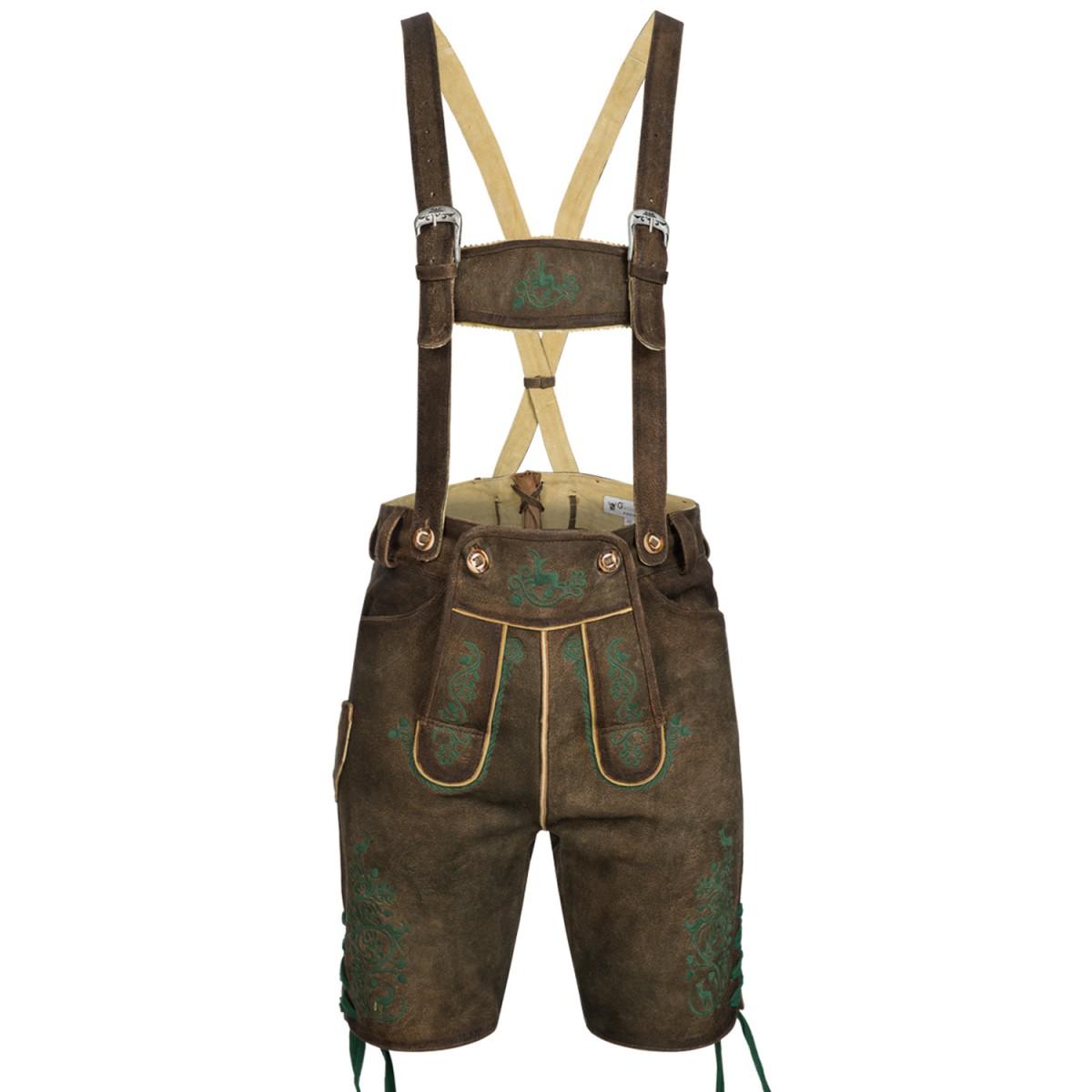 Kurze lederhose in braun von gweih silk ebay for Trachten finest