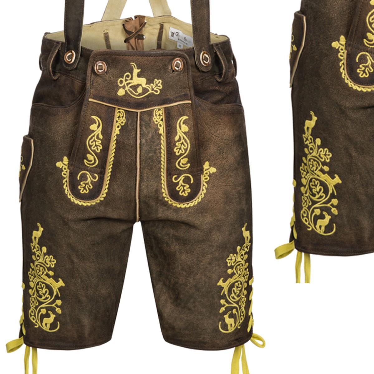 Kurze lederhose in braun von gweih silk for Trachten finest
