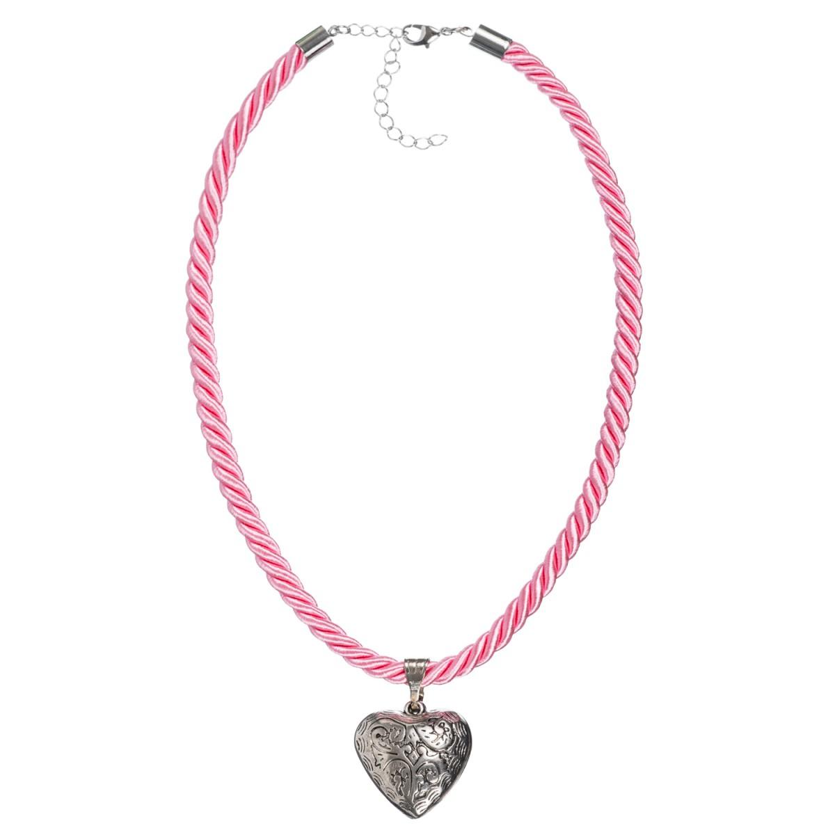 Kordelkette in Rosa mit Herzanhänger von Schlick Accessoires