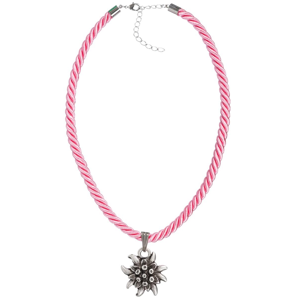 Kordelkette in Rosa mit Edelweiß von Schlick Accessoires günstig online kaufen