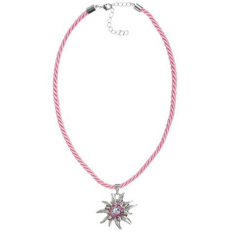 Halskette in Rosa mit Edelweißanhänger von Schlick Accessoires