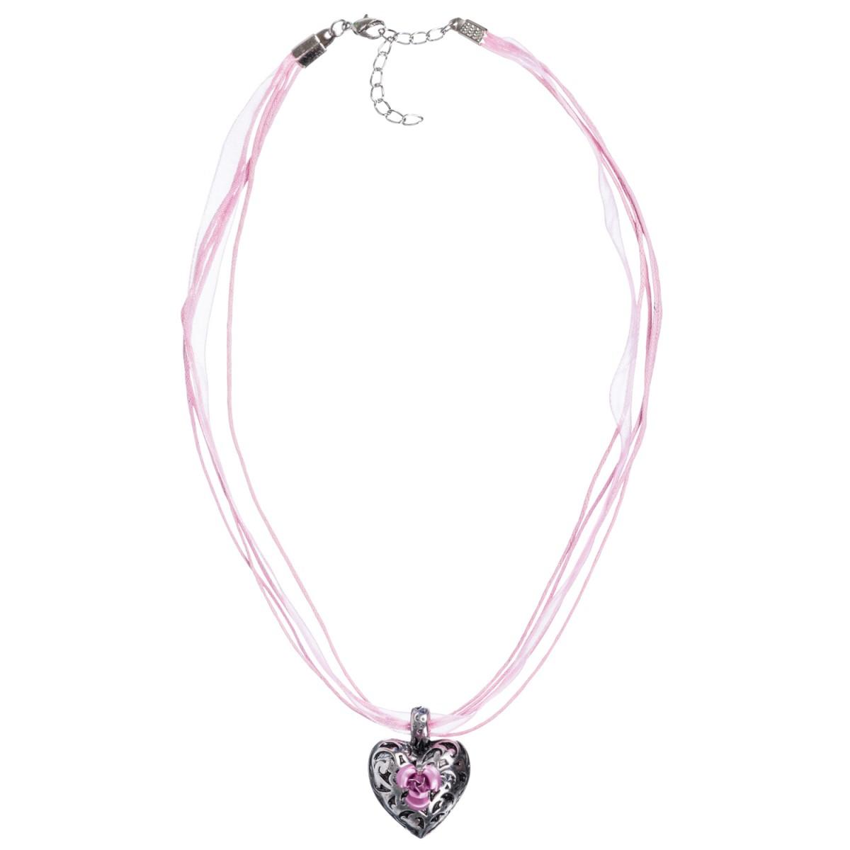 Halskette in Rosa mit 4 Bändern und Herzanhänger mit Rosenblüte von Schlick Accessoires günstig online kaufen