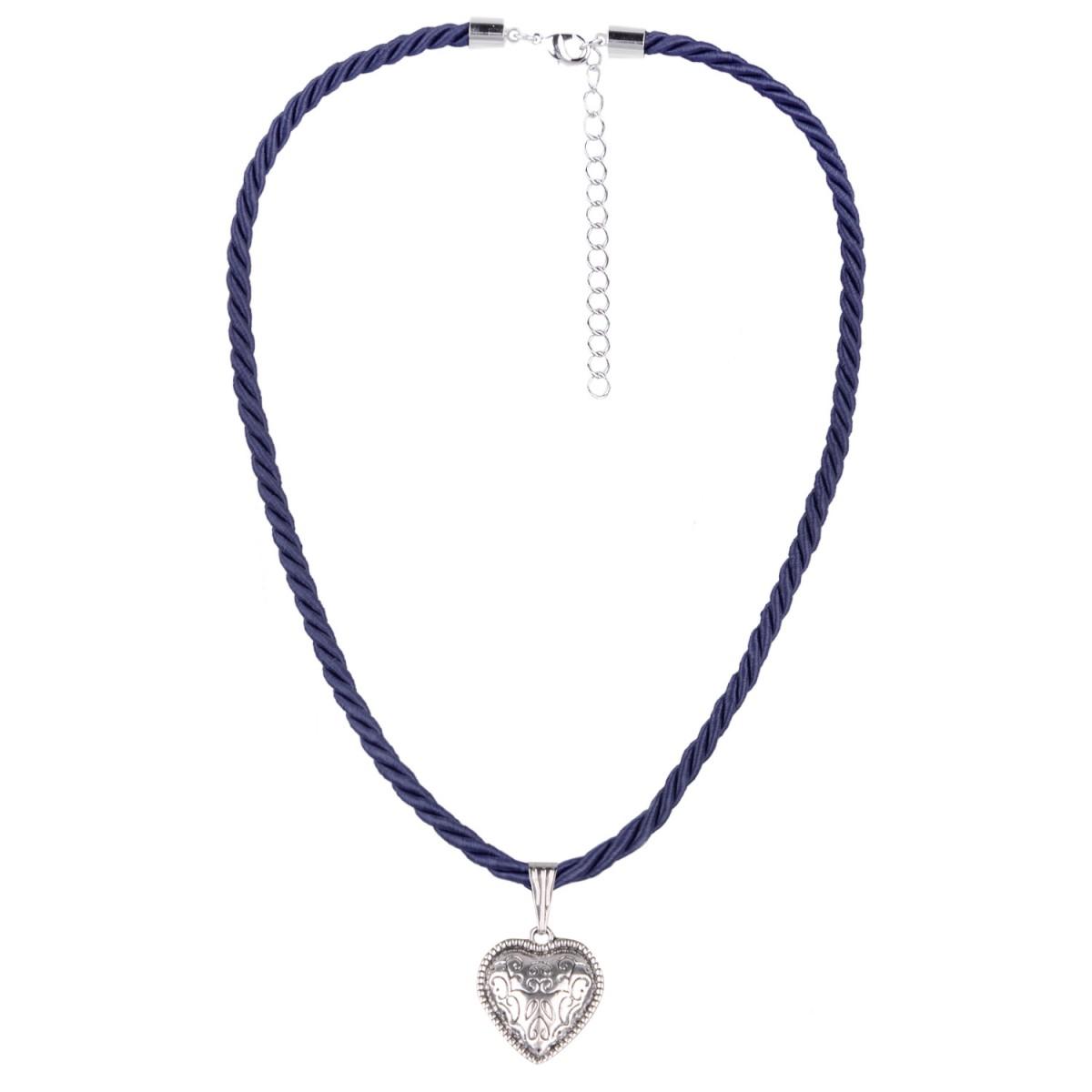 Kordelkette mit kleinem Herz in Dunkelblau von Schlick Accessories günstig online kaufen