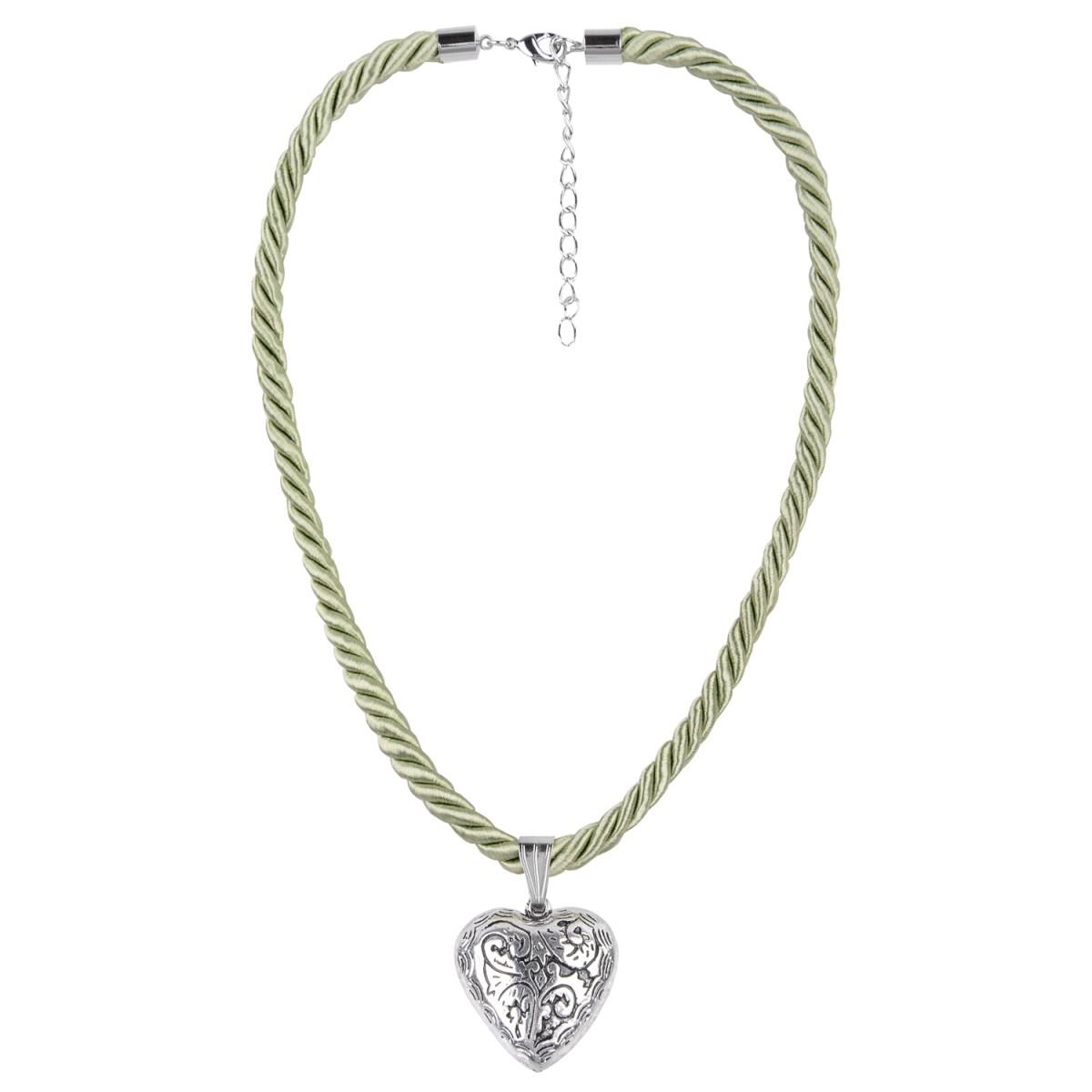 Kordelkette mit Herzanhänger in Hellgrün von Schlick Accessoires günstig online kaufen