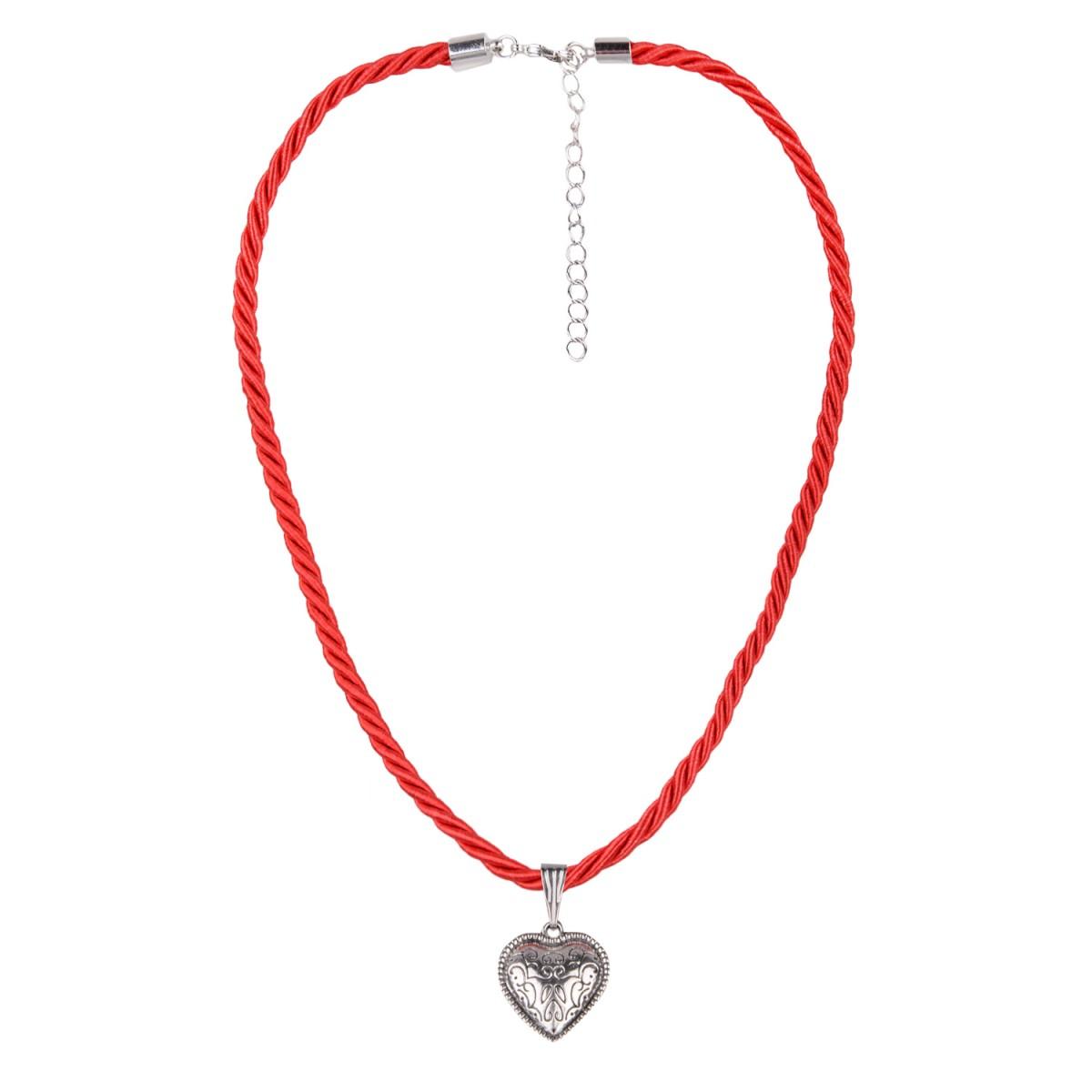 Kordelkette in Rot mit kleinem Herz von Schlick Accessories