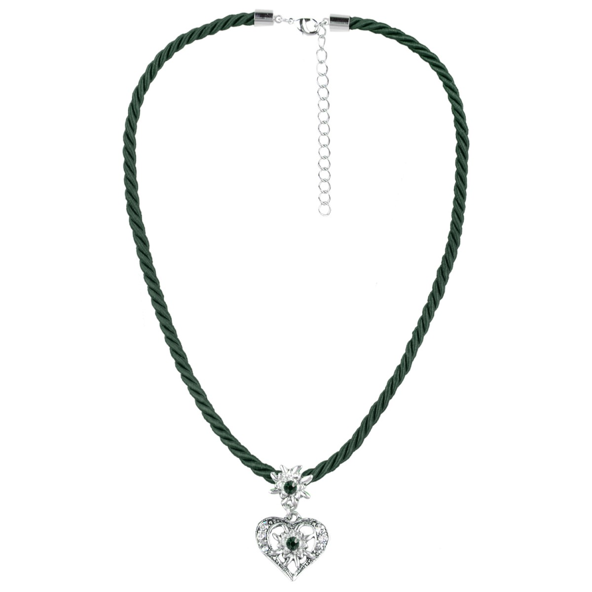 Kordelkette mit Herzanhänger in Dunkelgrün von Schlick Accessoires günstig online kaufen