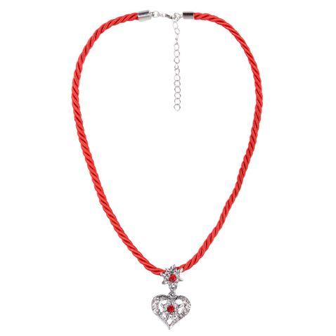Kordelkette in Rot mit Herzanhänger von Schlick Accessoires