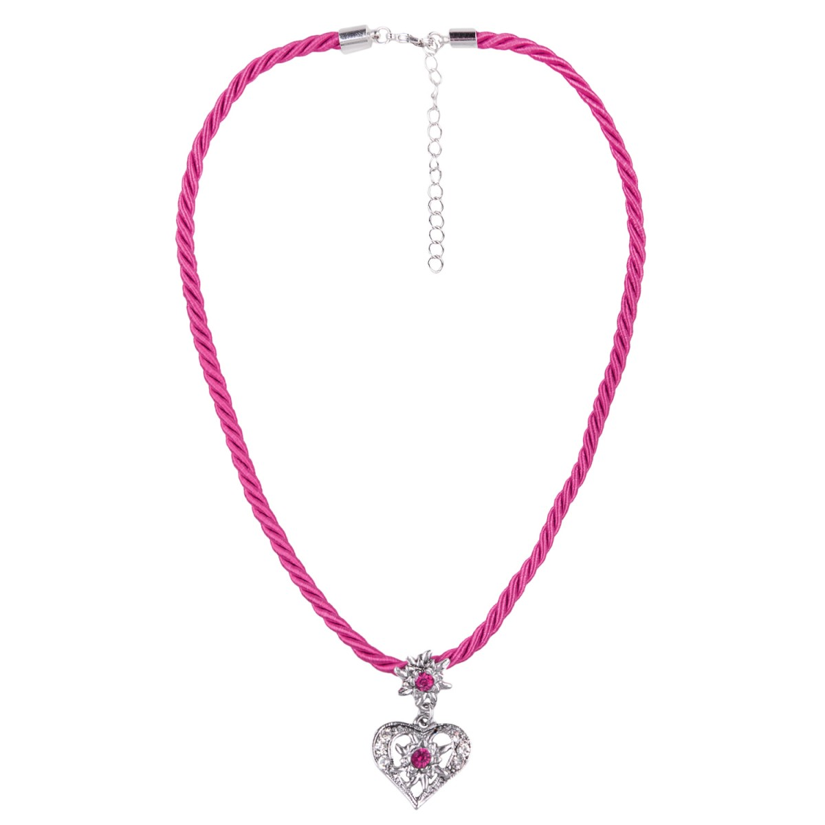 Kordelkette in Pink mit Herzanhänger von Schlick Accessoires günstig online kaufen