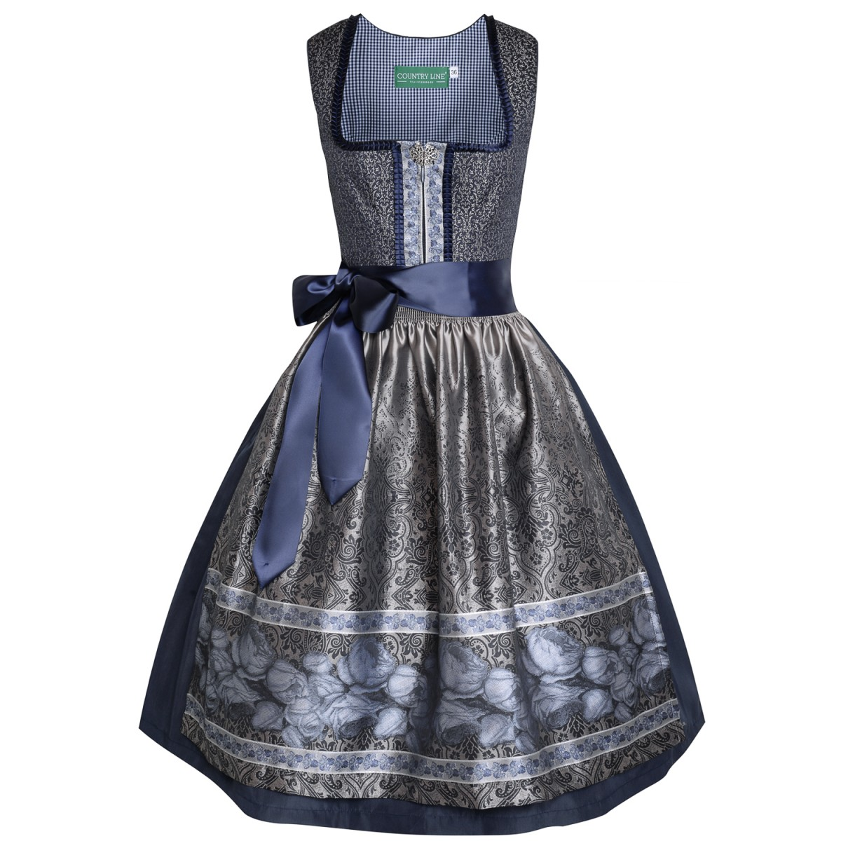 midi dirndl lara in dunkelblau von country line ebay. Black Bedroom Furniture Sets. Home Design Ideas