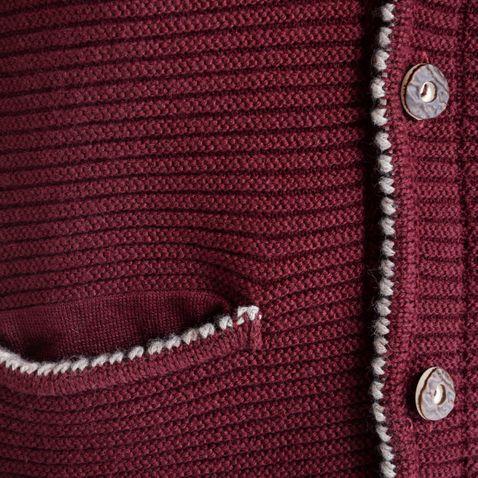 Strickjacke in Weinrot von Gweih und Silk