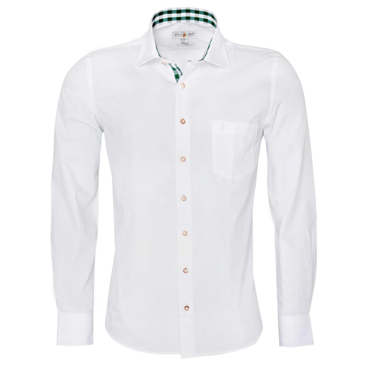Trachtenhemd Slim Fit zweifarbig in Weiß und Dunkelgrün von Almsach günstig online kaufen