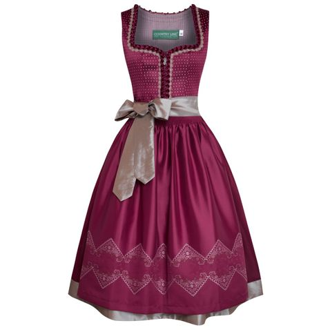 Midi Dirndl Bine in Bordeaux von Country Line